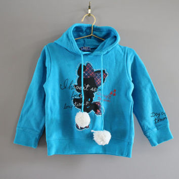 Japan toddler blue hoodies gem Mickey mouse pom pom smile size 2 - 3 years old