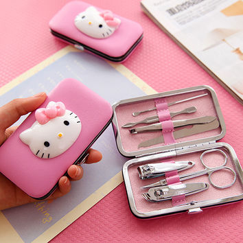 Cute HELLO KITTY Nail clipper Stainless steel nail pliers Manicure tools 7pcs