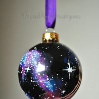 Hand Painted Cosmos Christmas Ornament; Christmas tree ornament, glass ornament, Christmas gift, outer space, hand painted ornament, galaxy