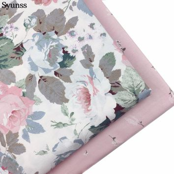 Pink Floral Cotton Fabric Patchwork Meter Baby Cloth Bedding Textile DIY Handmade Sewing Tedios Quilt Tilda Tissus