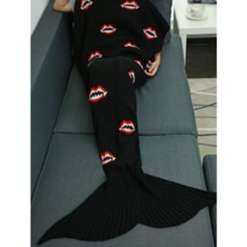 Mouth Pattern Knitted Mermaid Tail Blanket