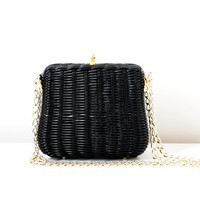 Vintage Black Basket Wicker Purse - Small Bag with Gold Tone Chain Handle