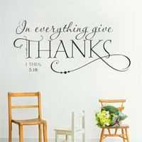 family bless everything give thanks bible quote wall decals classic christian wall stickers for kids rooms decor diy vinyl gifts