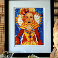 11X14 Queen of Hearts framed fine art PRINT based on Original painting by Chanel Christoff Davis
