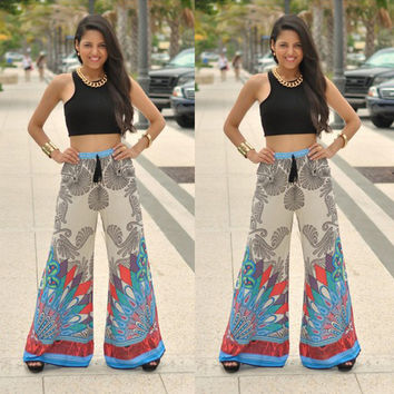 Black Sleeveless Top with Printed Drawstring Pants