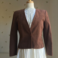 Vintage Women's Blazer / Brown Herringbone / Fitted Jacket / Classic