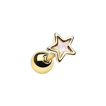 Golden Opal Star Shape WildKlass Cartilage Tragus Earring