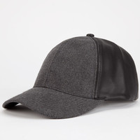 Faux Leather/Wool Womens Snapback Hat Grey/Black One Size For Women 24212997601