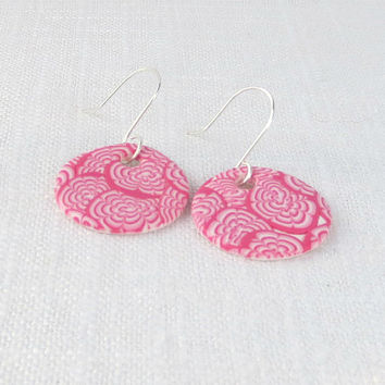 Pink Flower Earrings, Pink and White Chrysanthemum Earrings, Polymer Clay Millefiori, Pink Dangle Earrings, Fuchsia Drop Earrings