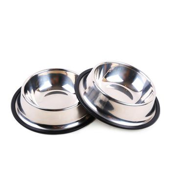 High Quality Stainless Steel No Slip Dog Puppy Pet Food Water Bowl Water Dish Dog Feeder Water Bowl Dish 4 Size