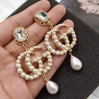 GUCCI Fashion New Pearl Diamond Letter Earrings Gold