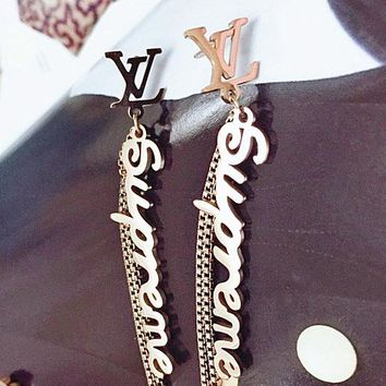 Supreme X GUCCI X LV fashion temperament long fringed letter earrings