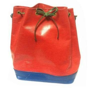 Tagre™ ONETOW Vintage Louis Vuitton red, blue, and green, epi bucket hobo GM noe shoulder bag. Class