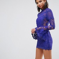 ASOS Lace Long Sleeve Mini Dress With Fluted Sleeves at asos.com