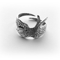 Silver Wrapped Sparrow Bird Ring - Antique Silver Ox Brass Ring - Adjustable