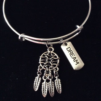Dream Catcher Silver Expandable Charm Bangle Bracelet Sleeping Tranquility Calming Gift