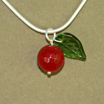 Red Apple Gemstone Pendant Necklace - YOUR CHOICE of Sterling Chain Red Apple Faceted Gem with Unqiue Green Glass Leaf Bead by Mei Faith