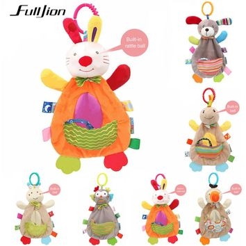 Fulljion Baby Rattles Mobiles Soft Baby Toys 0 12 Months Towel Bed Bell Cute Animal Christmas Crib Bebe Stroller Montessori Gift