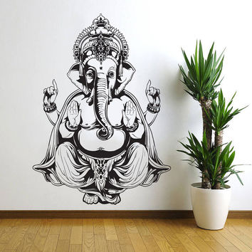 Vinyl Wall Decal Sticker Art Decor Bedroom Ganesh Elephant GOD OM Yoga Buddha Mandala Ganapati