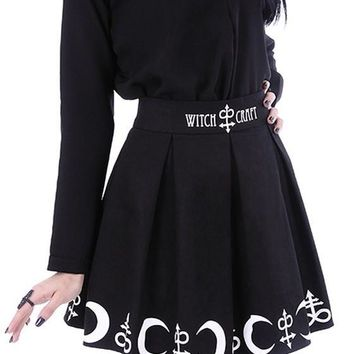 Black Monogram Print Pleated Witchcraft Plus Size Gothic Alternative Goth Party Skirt