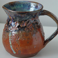 "Pint size Pitcher Ewer,  pottery jug, Brown earth tone, Blue interior ""Good Morning"", Wheel Thrown Pottery ceramic"