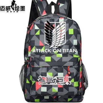 Japanese Anime Bag NEW hot-selling  Cartoon Attack on Titan Cosplay Teenage Girl Backpacks women men Canvas Backpack Travel shoulder bag AT_59_4