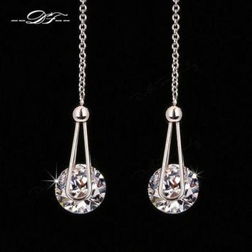 Double Fair 2 Carat Aaa+cubic Zirconia Drop dangle Line Earrings Silver rose aad8b860ba
