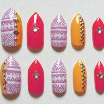 Pink, Yellow and Coral Stiletto Fake Nails with Aztec / Tribal Print, Rhinestones, Gold Studs and Beads Nail Set