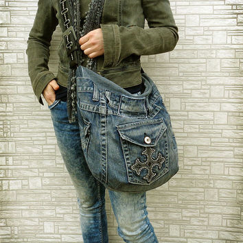 Cross body hobo bag slouchy purse denim Emo Goth Rock Grunge