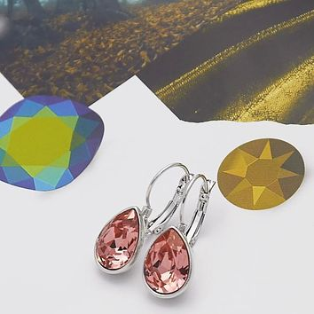 Rhodium Layered Women Teardrop Leverback Earring, with Rose Peach Swarovski Crystals, by Folks Jewelry