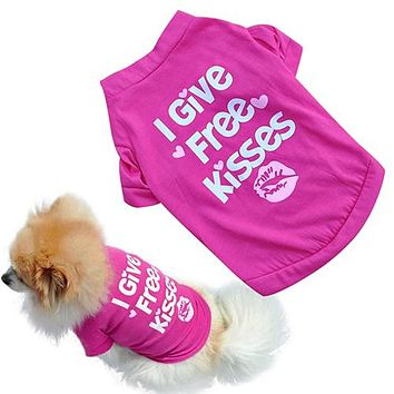 Rose-red Lip Pet Dog T-shirt Small Cat Puppy Spring Summer Shirt Vest Clothes