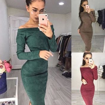 Suede Long Sleeve off shoulder Women mid-calf Dress 2019 Spring Autumn Female sexy Bodycon Costume new year party Dresses