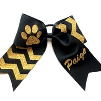 Glitter Cheer Bow, Black, Gold, Cheer Camp, Chevron, Competition Cheer Bow, Custom made Cheer Bows