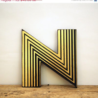 SALE Gatsby Style Gold Leaf Geometric Distressed Letter N Wall Hanging Wood Decor For Home and Weddings