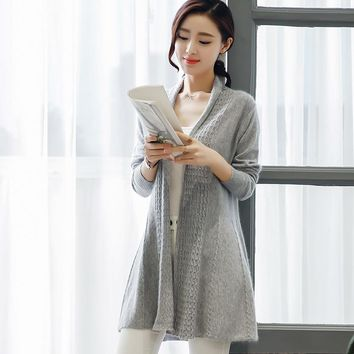 Spring NEW Women's Cashmere wool blended shawl Cardigan solid color knitted no buckle long section fashion coat Sweater cardigan