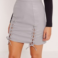 Missguided - Eyelet Lace Up Faux Leather Mini Skirt Grey