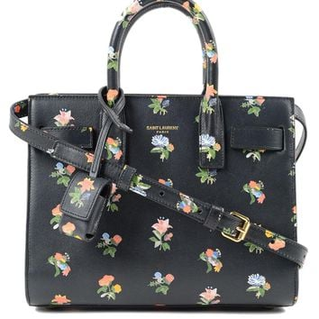 Saint Laurent YSL Black Floral Mini Sac de Jour Handbag 398711