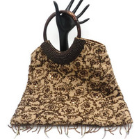 Brown Silk Tote Style Handbag With Sequins And Beads