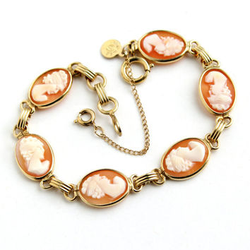 Vintage Cameo Bracelet - 12K Yellow Gold Filled Signed CC Uncas Carved Shell Link Jewelry / Oval Elegance