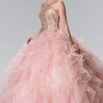 Beaded gold embroidered bodice quinceanera dress #gl2208