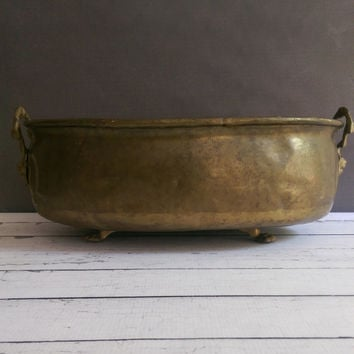 Antique Brass Planter/ Brass Planter with Handles/ Antique Brass Footed Planter/  Oblong Large Brass Bowl