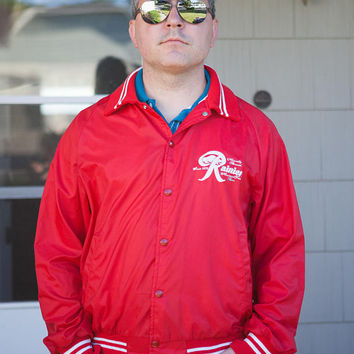 Vintage Rainier Sports Jacket, Rainier Jacket, Large Satin Rainier Beer Jacket, Red Rainier Sports Jacket
