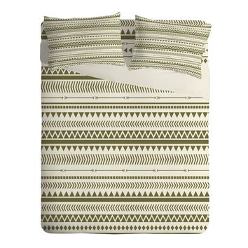 Allyson Johnson Green Aztec Sheet Set Lightweight
