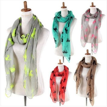 Hot Fashion Women Ladies Cotton Running Horse Print Animal Soft Scarf Shawl Wrap Stole = 1957954180