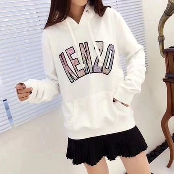 ONETOW Kenzo' Women Casual Fashion Sequin Letter Tiger Head Embroidery Long Sleeve Hooded Sweater Hoodie Tops