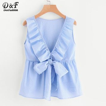 Dotfashion Flounce Trim Plunging Bow Neck Shell Top Sleeveless Ruffle Female Blouse Blue Round Neck Backless Plaid Blouse