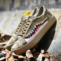VANS Bape Aape Women Men Leisure Flat Sneakers Shark Shoes B-CSXY Camouflage Brown