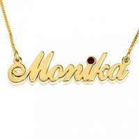 Swarovski Crystal Birthstone Name Necklaces 14k Gold or Sterling Silver
