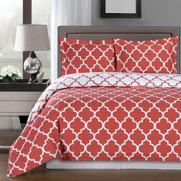 Meridian Coral 100% Egyptian Cotton Duvet Cover Set