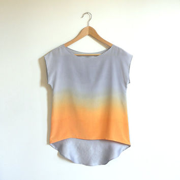 Ombre Silk Shirt  Silver Apricot by xsilk on Etsy